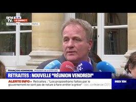 Retraites - François Hommeril (CFE-CGC) excellent à sa sortie de la réunion au Ministère du Travail